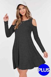 45 OS-K {Humble & Kind} Charcoal Open Shoulder Dress Plus Size 1X 2X 3X