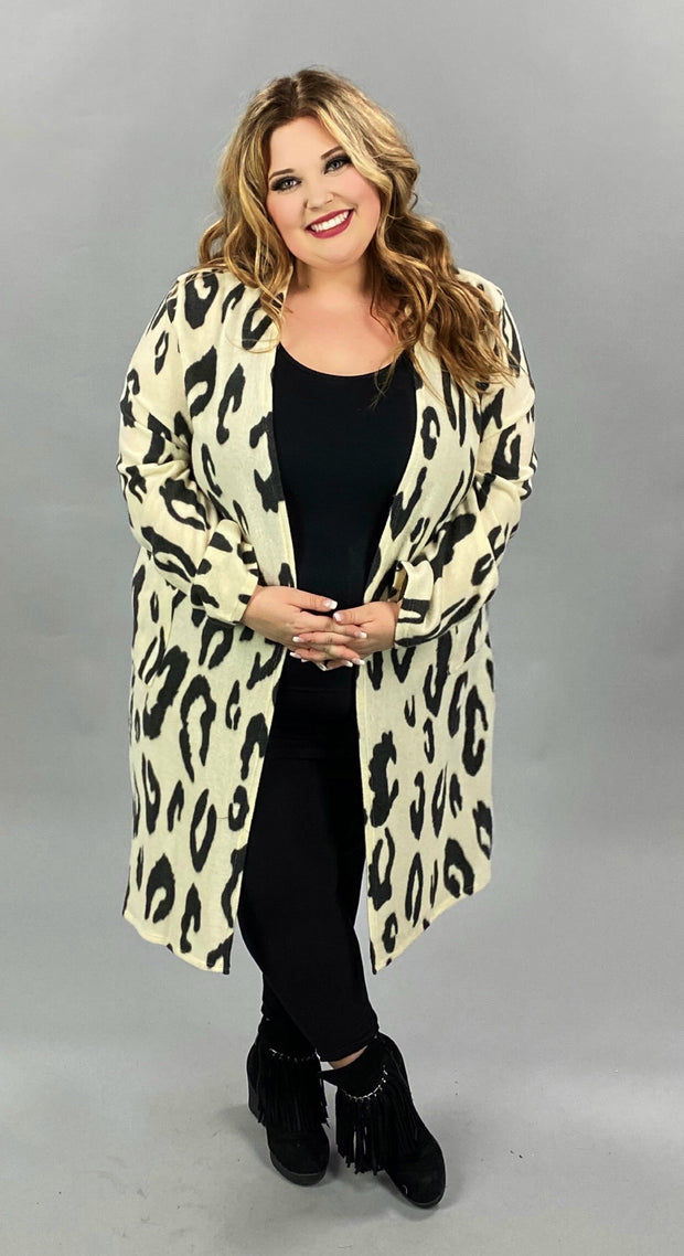 33 OT-C {On the Move}  SALE!! Ivory/Black Cardigan w/ Pockets PLUS SIZE XL 2X 3X