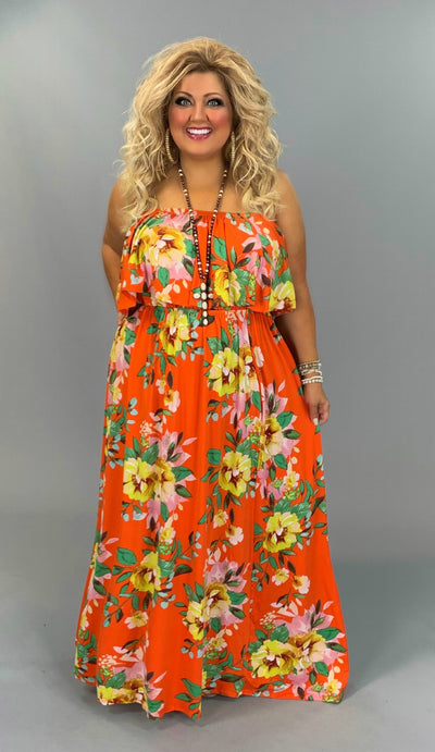 LD-M/B {1st Flight To Maui} Citrus Orange Floral Maxi Dress  PLUS SIZE 1X 2X 3X