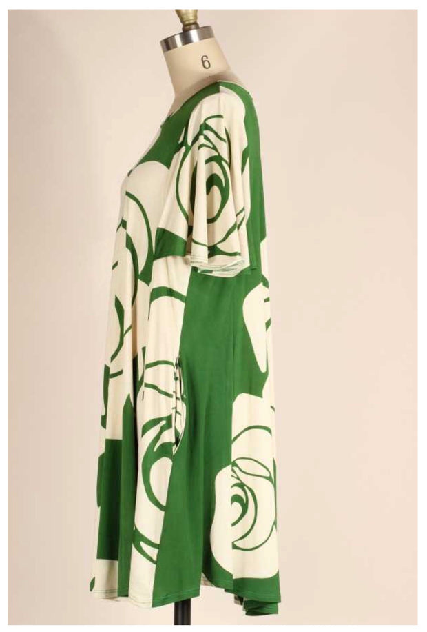 PSS-C {No Worries} Green & Ivory Large Rose Print Dress PLUS SIZE 1X 2X 3X