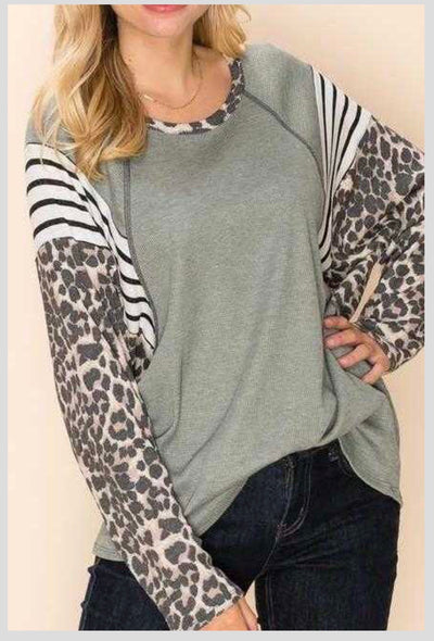 CP-R {Express Yourself} Sage Leopard Print Waffle Knit Top EXTENDED PLUS SIZE 3X 4X 5X 6X