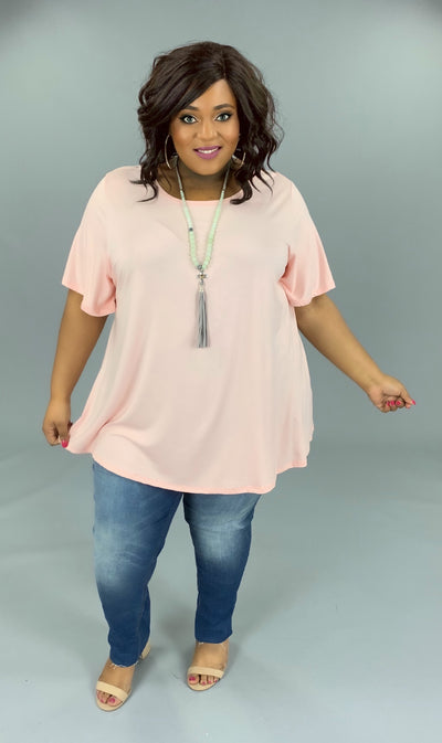 SSS-O (Bring On Summer) Baby Pink Top W/ Rounded Hem EXTENDED PLUS 3X 4X 5X 6X