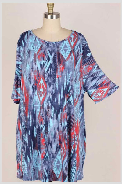 65 PSS-R {Lost Memories}  Blue Aqua Aztec Printed Tunic EXTENDED PLUS SIZE 3X 4X 5X