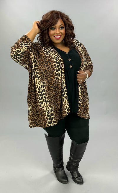 OT-Y {Caught In The Act} Leopard Print Butter Soft Cardigan EXTENDED PLUS SIZE 3X 4X 5X
