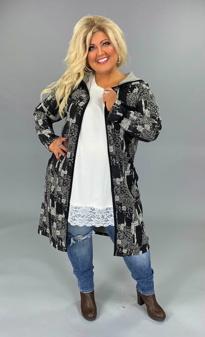 OT-N {A Huge Hit} Black/White Open Cardigan with Hood