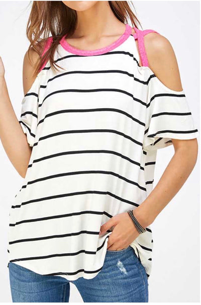 48 OS-A {Delightful Days} Ivory Black Stripe Pink Detail Top PLUS SIZE XL 2X 3X
