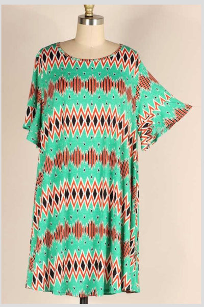 PSS-Y {Out To Lunch} Emerald & Burnt Orange Print Dress PLUS SIZE 1X 2X 3X