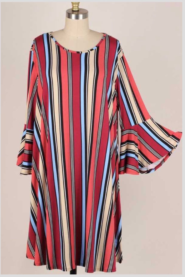 49 PQ-D {Travel Light} Burgundy Rust Black Vertical Stripe Dress EXTENDED PLUS SIZE 3X 4X 5X