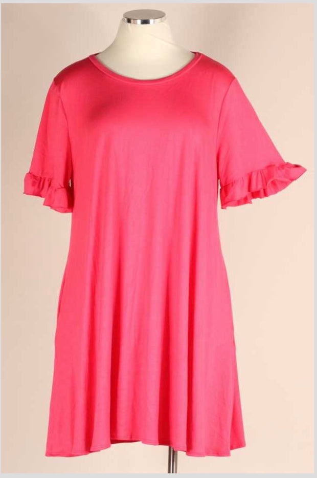 52 SSS-D (Evening Skies ) Coral Dress w/Ruffle Sleeve  4X5X6X Extended Plus Size