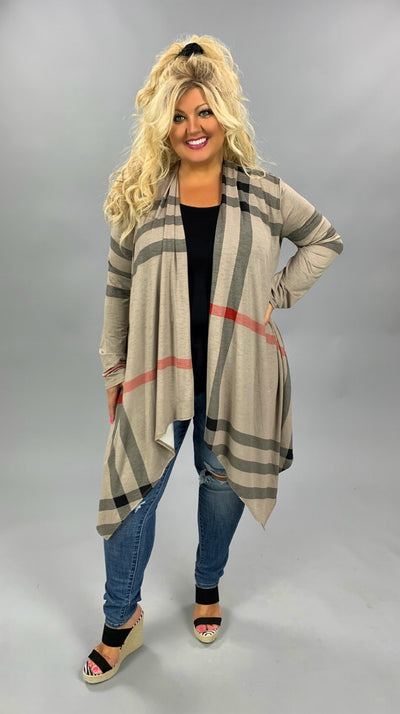 OT-R {Know My Type} Tan & Black Plaid Long Sleeve Cardigan PLUS SIZE 1X 2X 3X
