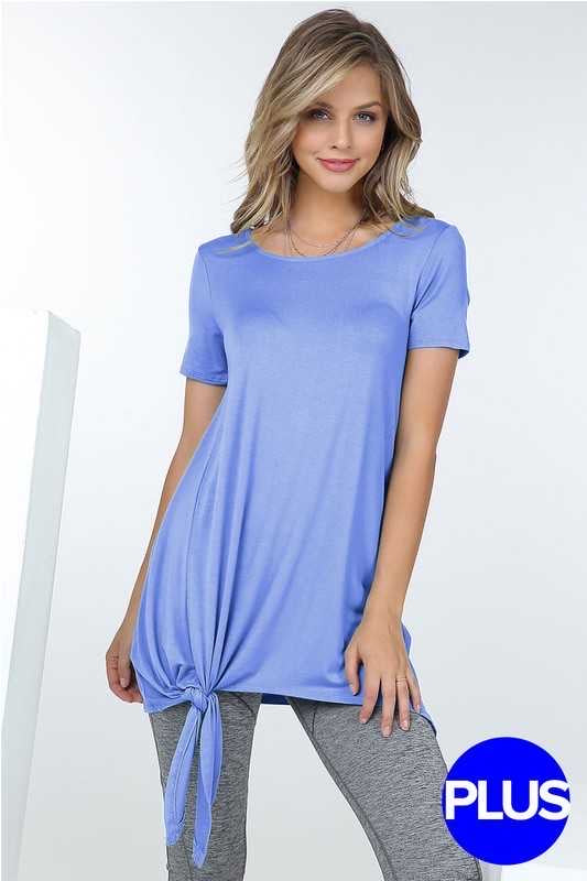 50 SSS-B (Cute & Sassy) Blue Tunic with Tie Knot Detail 1X 2X 3X Plus Size