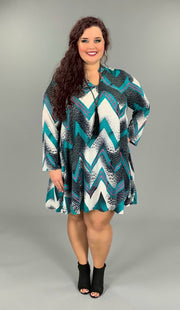 PLS-B (Make You Mine) Teal Leopard Chevron Dress PLUS SIZE 1X 2X 3X