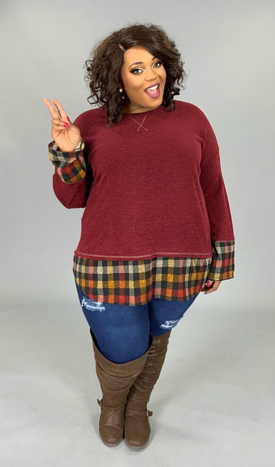 CP-C {Never Ending Story} Burgundy Knit Top Plaid Contrast EXTENDED PLUS SIZE 3X 4X 5X 6X SALE!!