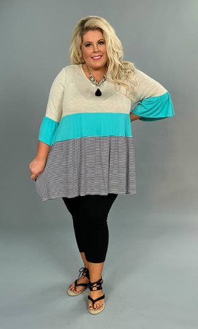 CP-R {Make A Move} Oatmeal/Mint Tunic with Striped Contrast