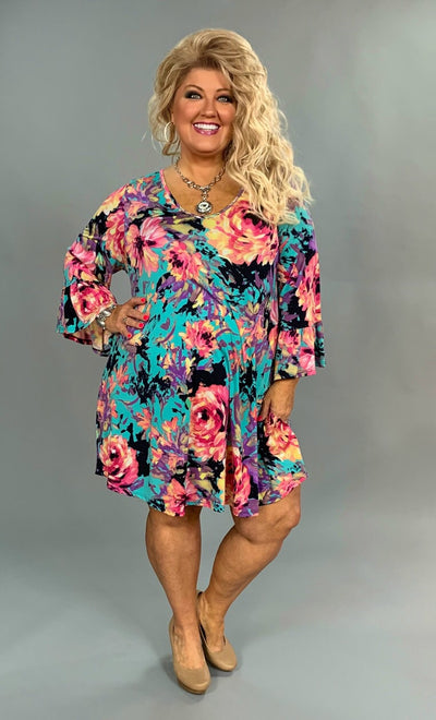 PQ-I {How Forever Feels} V-Neck Floral Dress Bell Sleeves  SALE!!