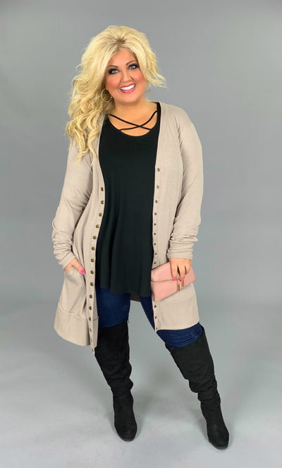 OT-W {Making A Statement} Mocha Snap Cardigan Sweater PLUS SIZE 1X 2X 3X