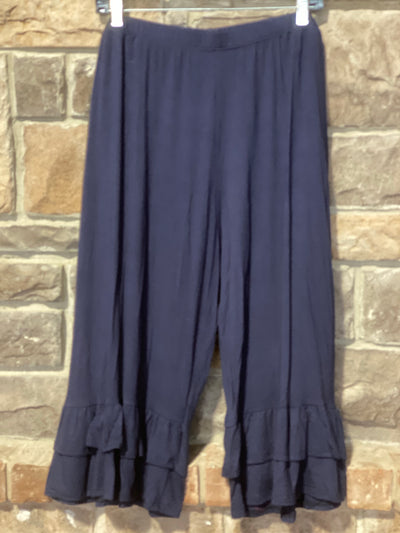 BT-J {Cute As Can Be}Navy Double Ruffle Capri Pant Curvy Brand EXTENDED PLUS SIZE 3X 4X 5X 6X