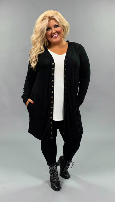 OT-C {Timeless Moves} Long Black Cardigan with Snap Front