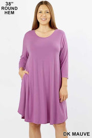 50 SQ-F (Simply Cute) Solid Lilac Tunic with Pockets 1X 2X 3X Plus Size
