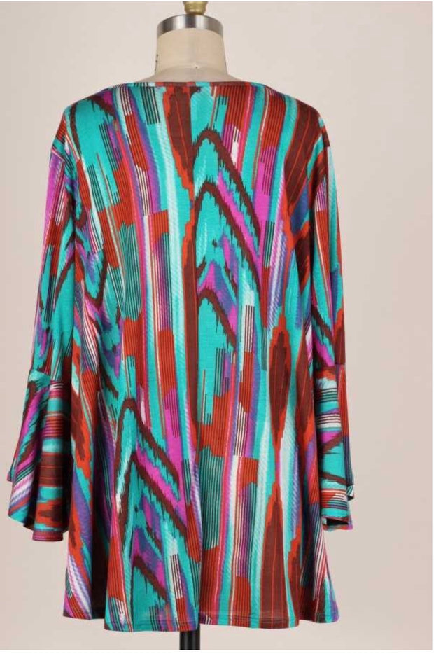 50 PQ-C {Untold Stories} Purple Teal Brown Abstract Print EXTENDED PLUS SIZE 3X 4X 5X