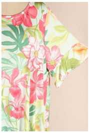 PSS-B {Seeking Paradise} Mint Green Tropical Floral Dress EXTENDED PLUS SIZE 3X 4X 5X SALE!!