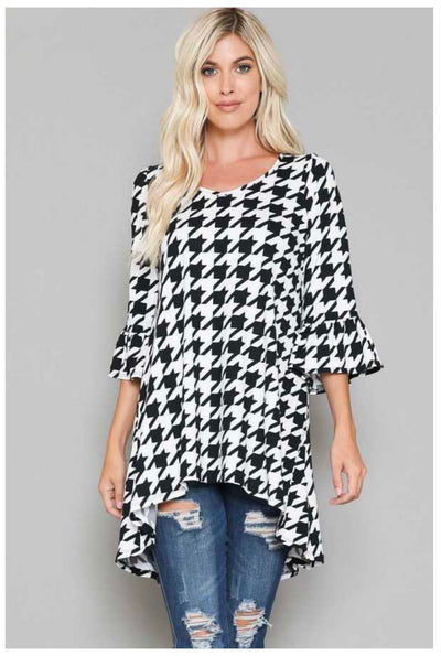 PQ-Z {City Nights} Black White Houndstooth Hi Low Tunic BUTTER SOFT EXTENDED PLUS SIZE 4X 5X 6X