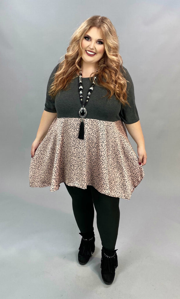 CP-Z {Call Me Classic} Grey & Pink Animal Print Contrast Tunic CURVY BRAND EXTENDED PLUS SIZE 3X 4X 5X 6X