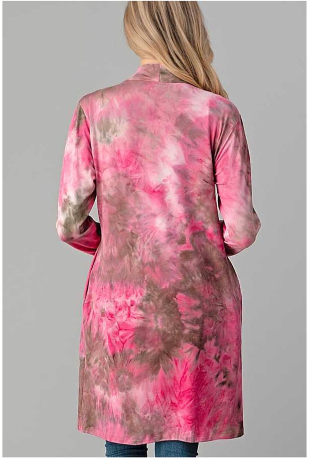 OT-O {Basic Perfection} Pink Tie Dye Long Sleeve Cardigan BUTTER SOFT PLUS SIZE 1X 2X 3X