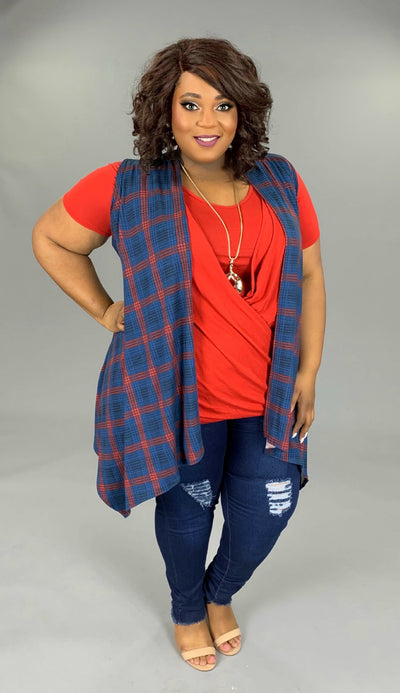 OT-J {People Like Us} Asymmetrical Navy/Burgundy Vest PLUS SIZE 1X 2X 3X