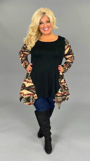 CP-J {Just For You} Black Asymmetrical Beige/Burgundy Tunc with Aztec Sleeves  PLUS SIZE 1X 2X 3X SALE!!