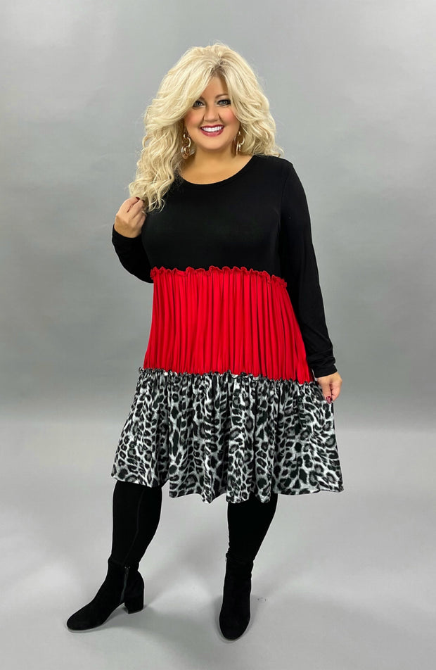 36 CP-B {Come To Me} SALE!! Black Red Leopard Contrast Dress CURVY BRAND EXTENDED PLUS SIZE 3X 4X 5X 6X