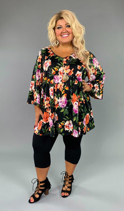 PQ-Q {Picnic In The Park} Black Floral Print Babydoll Tunic Extended Plus  SALE!!