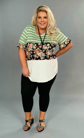 CP-F {Happy Trails} Moss Green & Black Floral Contrast Top