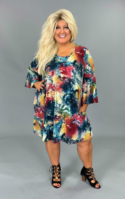 PQ-P {All That Matters} Multi-Print Dress Bell Sleeves & Pockets