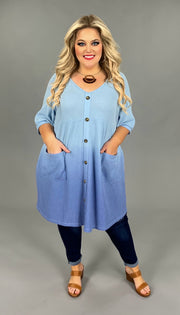 "PSS-E {Atmosphere} ""UMGEE"" Blue Gradient Babydoll Dress PLUS SIZE XL 1X 2X"