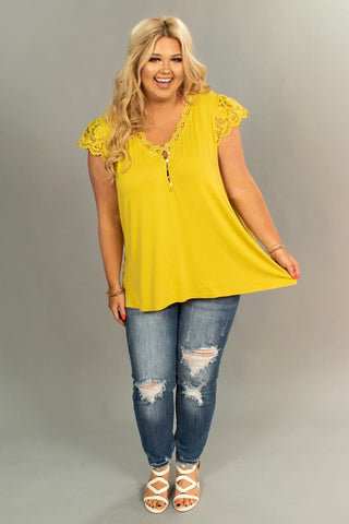 SSS-H {Simple Pleasures} Mustard Top Crochet Lace Detail
