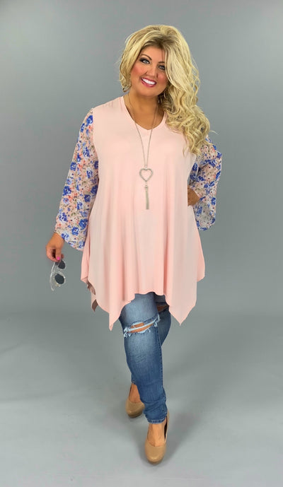 CP-W {Springtime Joy} Light Pink V-Neck Asymetrical Tunic Floral Sleeve EXTENDED PLUS SIZE 3X 4X 5X 6X