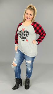 "GT-B ""Be My Valentine""  French Terry Top with Plaid Sleeves SALE!!"
