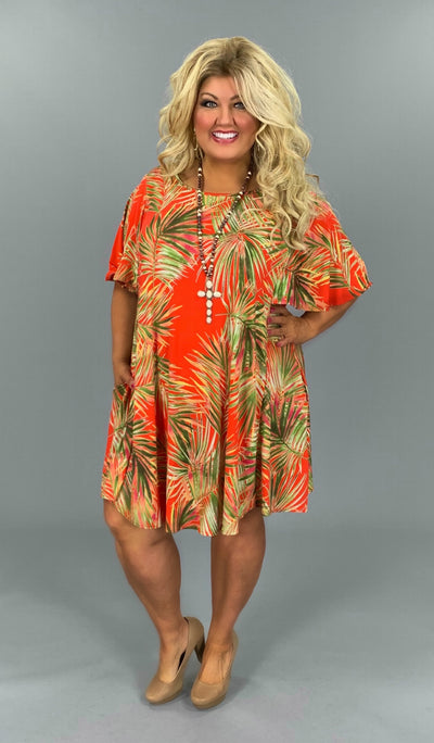 PSS-A (Let's Travel )Tropical Printed Dress W/ Pockets EXTENEDED PLUS 3X 4X 5X