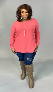 SLS-C {You Sang To Me} Rose Waffle Knit Top with Split Sides PLUS SIZE 1X 2X 3X SALE!!