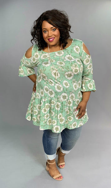OS-K {Tell Me Why} Pistachio Floral Cold-Shoulder Tunic Extended Plus
