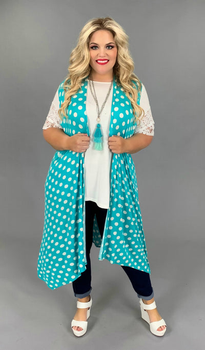 "OT-W {Shop ""Teal"" You Drop} Polka-Dot Vest PLUS SIZE 1X 2X 3X"