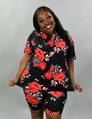 SET-A {Enchanted Rose} Black W/Red Rose Lounge Set EXTENDED PLUS SIZE 3X 4X 5X SALE!!