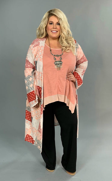 OT-U {Heaven Only Knows} Salmon & Rust Patchwork Cardigan