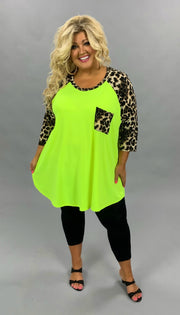 CP-W {Must Be Magic} Bright Neon Top with Leopard Contrast EXTENDED PLUS SIZE 3X 4X 5X 6X