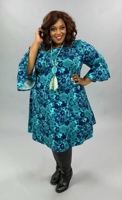 PQ-Z {Feeling At Peace} Aqua Navy Printed Bell Sleeve Dress BUTTER SOFT EXTENDED PLUS SIZE 3X 4X 5X