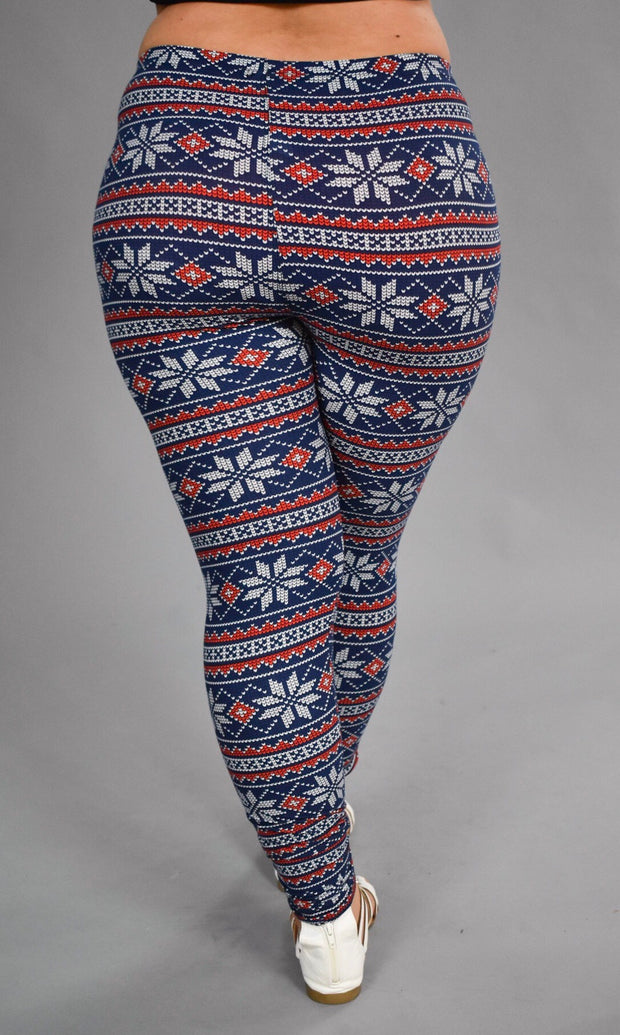 GT/O -Blueberry/Frost Snowflake Printed Leggings