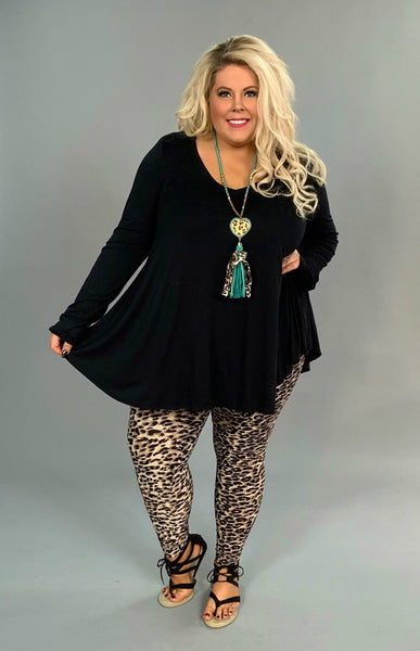SLS-C {Simple Words} Black V-Neck Tunic with Long Sleeves Extended Plus