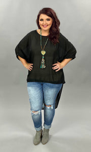 SSS-B {Cool Topic} Black Sheer Hi-Lo Top with Cuff Sleeves