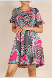 PSS-B {Feelings Of Cheer} Charcoal/Bright Mandela Print Dress PLUS SIZE 1X 2X 3X SALE!!